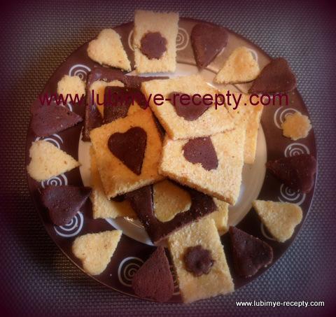 """рецепт """"сердечные """"шоколадные брауни двух цветов"""