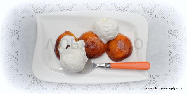 Французский десерт - жареные абрикосы с мороженым8