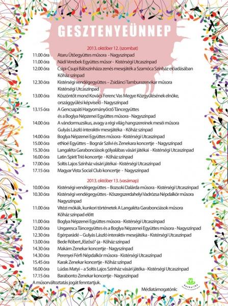 Программа фестиваля каштанов в Велем 2013