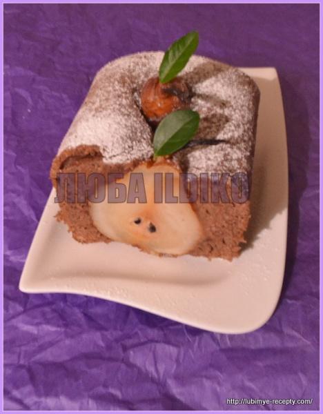 Шоколадный кекс с грушами 3