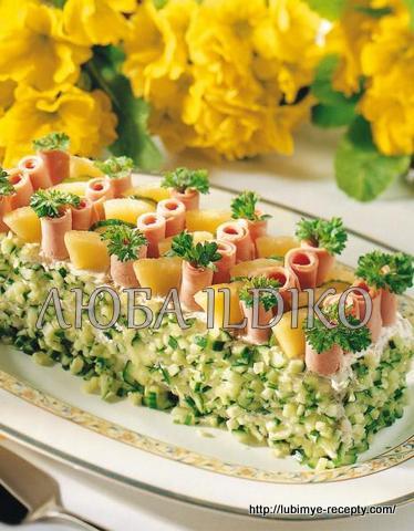 Праздничный закусочный скандинавский мясной торт 5