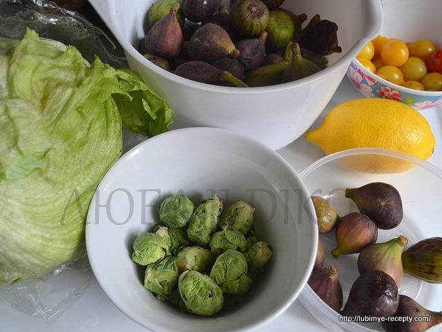 Ингредиенты для салата с инжиром